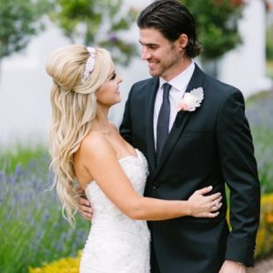 Carmel wedding, blonde waves, some-up, some-down hairdo, wedding headband updo.